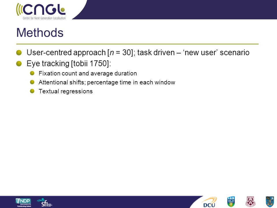 Methods User-centred approach [n = 30]; task driven – 'new user' scenario. Eye tracking [tobii 1750]: